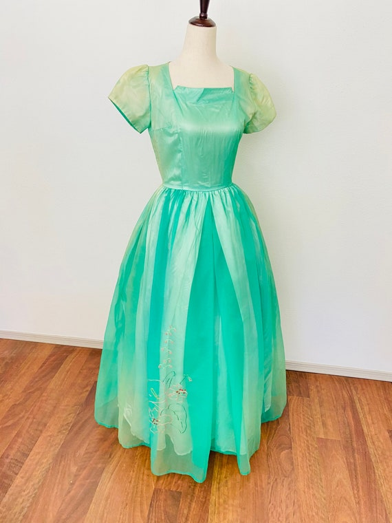 Vintage 1950s ball gown with vibrant green and yel