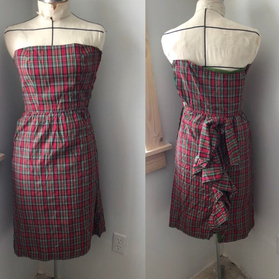 XS 1950s bscl bustle Vintage Wiggle Dress. Sleevel