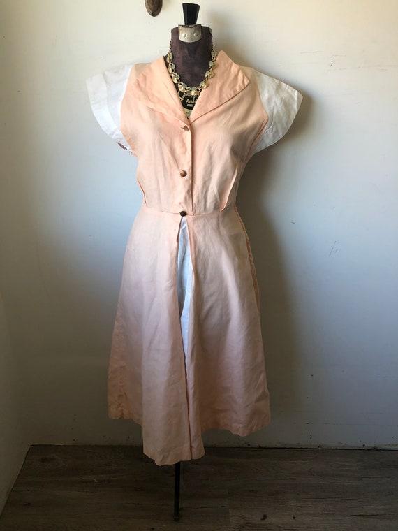1940's sz M Colorblock Linen  Dress. Simple. Gorge