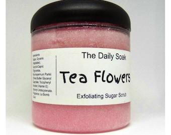 Sugar scrub, Tea Flowers sugar scrub, 8oz sugar scrub, exfoliating sugar scrub, body polish.