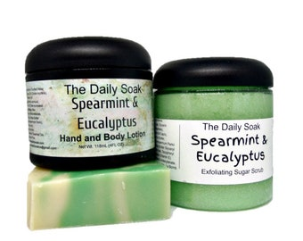 Mothers Day Soap Gift Set, Soap and Lotion Set, Spearmint Eucalyptus gift set, Soap, Lotion and Sugar Scrub gift set.
