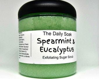 Sugar scrub, Spearmint Eucalyptus sugar scrub, 8oz sugar scrub, exfoliating sugar scrub, body polish.