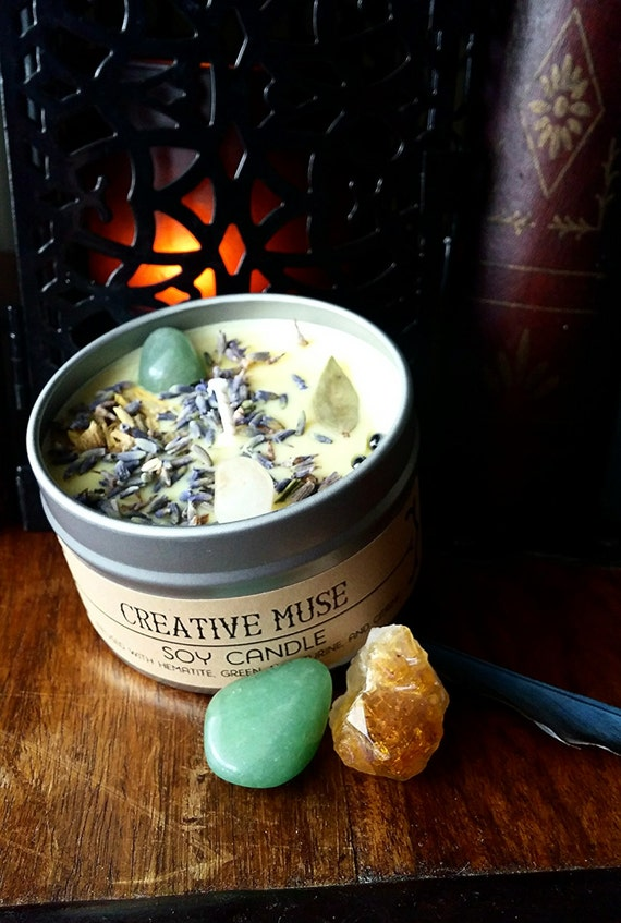 Creative Muse Soy Candle infused with Hematite, Green Aventurine, and Citrine