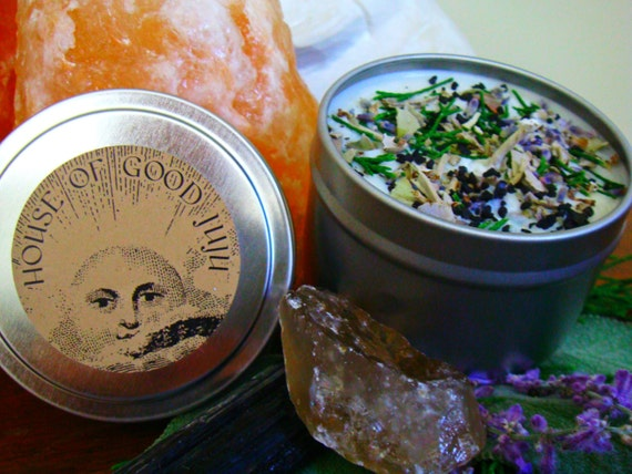 Sacred Space Smudge Candle infused with Black Tourmaline and Smoky Quartz