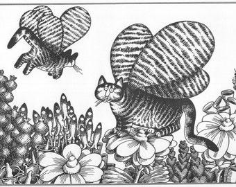 B Kliban Cat Original Vintage Print Butterfly Flowers