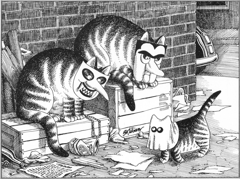 b kliban cat original vintage art print halloween trick or | etsy