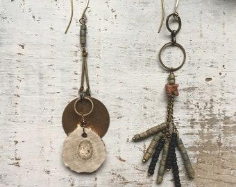 Deer antler and rattlesnake vertebrae earrings /Asymmetrical earrings /Bone jewelry/ Beaded earrings/ Antler jewelry/ Earthy earrings