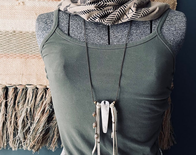 Bone and leather tassel necklace
