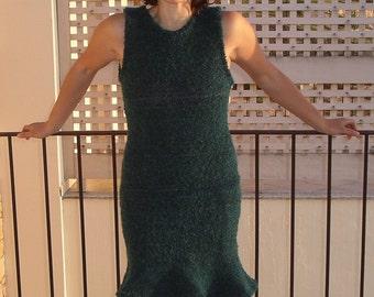 Sleeveless  dress in turquoise wool