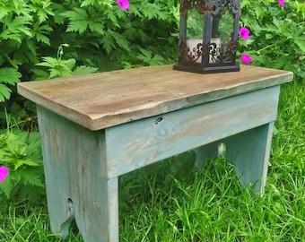Rustic vintage footstool primitive stool side table