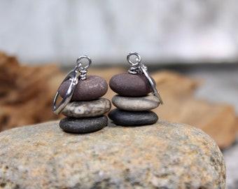 Minimalist Jewelry Beach Rocks-Tumbled Stone Earrings-Beach Jewelry-Stacked Stones Sterling Silver Cairn Stone Earrings-Beach Stones