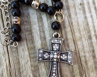 Cross Rear view mirror charm, gift for her car, Rosary look, Catholic Christian cross charm, spiritual gift, prayer beads
