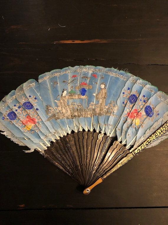 Antique Chinese Blue Ostrich Feather Fan, Antique