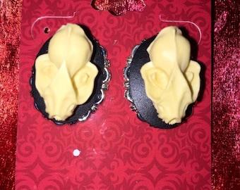 Resin Bat Skull Earrings