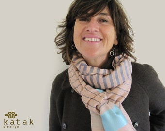 Wool silk striped scarf woman, woven scarf and  coloured  stripes