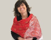 woolen woven red shawl, kani shawl embroidered, festival shawl