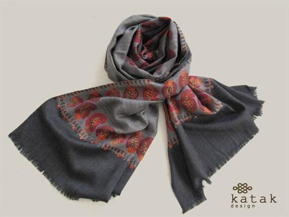 bde8ab81bd23 Châle de laine tissée, écharpe laine multicolore, pashmina Indiens, hiver, châle  châle couleur de tuiles, ...