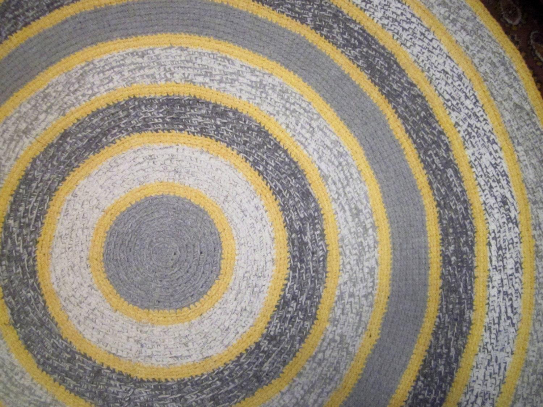 Große Runde grau und gelb gehäkelt Teppich grau rund Teppich
