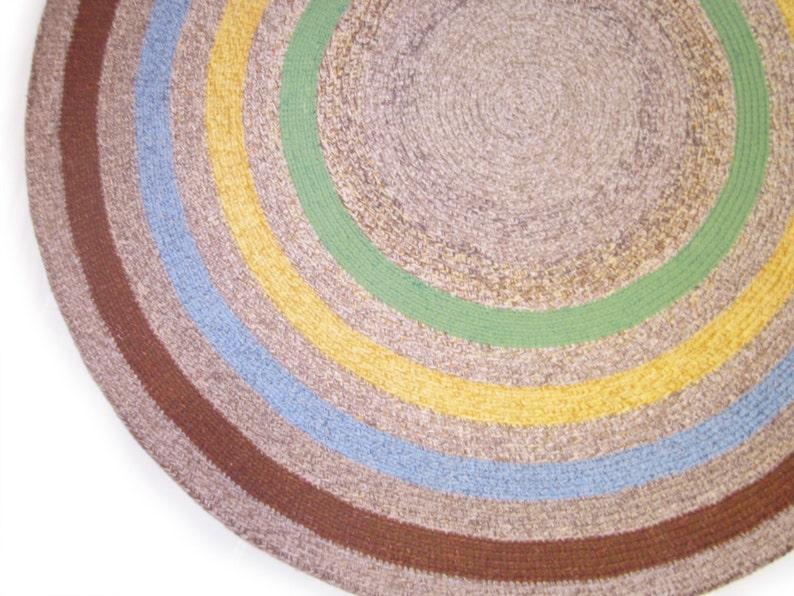 Grand bleu vert jaune Violet rond au Crochet tapis chambre | Etsy