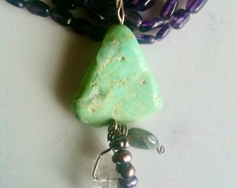 Chrysoprase pendant on amethyst beads gemstone art