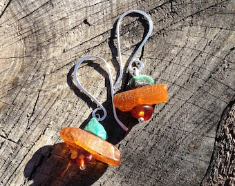 Amber, Turquoise and Sterling Silver Gemstone Art Earrings