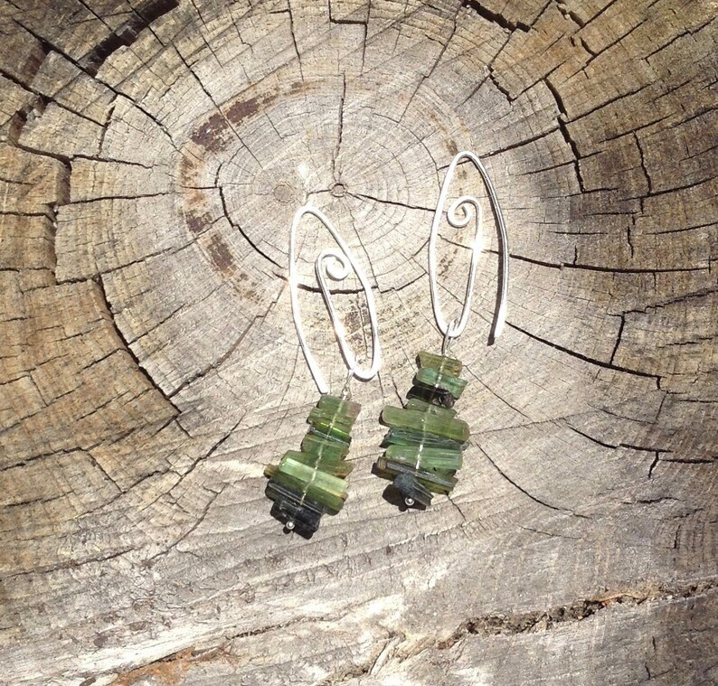 Green Tourmaline and Sterling Silver Gemstone Art Earrings image 0