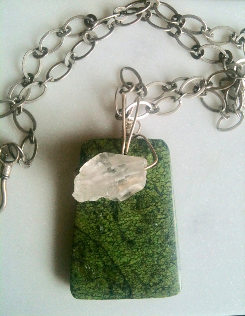 Green Turquoise gemstone art pendant with silver chain image 0
