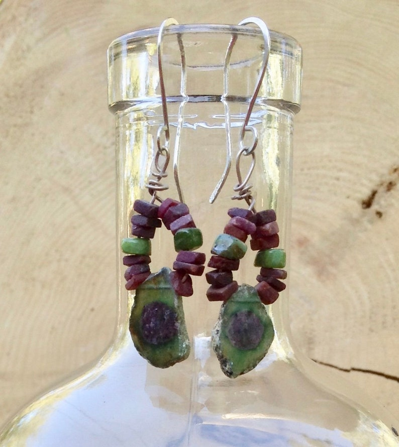 Ruby and Zoisite gemstone slice art earrings with sterling image 0