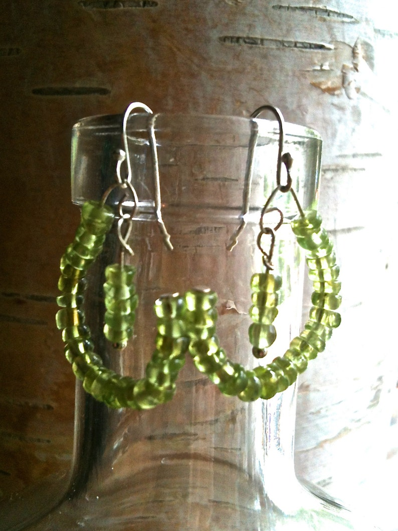 Peridot and Sterling Silver gemstone art earrings image 0
