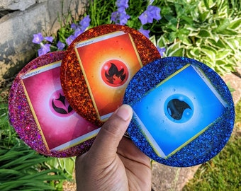 Pokemon TCG Energy Card Coasters, Trinket or Dice Trays