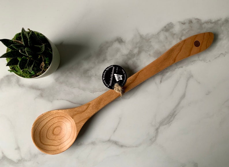 Made in Maine Stew or Crockpot Spoon with contrasting inlay USA Round Bowl Cooking Spoon