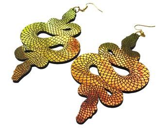 Iridescent Snake Statement Earrings
