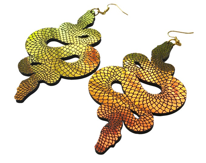 Featured listing image: Iridescent Snake Statement Earrings