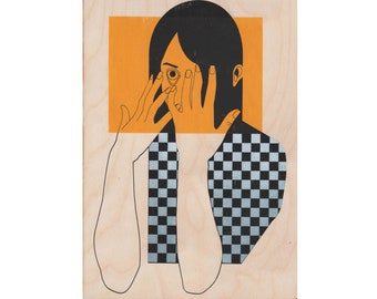Wooden Hair Girl Print - Black and yellow Checkered