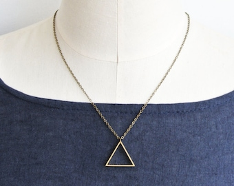 Triangle Geometric Minimalist Necklace - Brass Jewellery - Statement necklace - Simple - Elegant - Triangular
