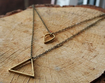 Layered Triangle & Tear Drop Necklace