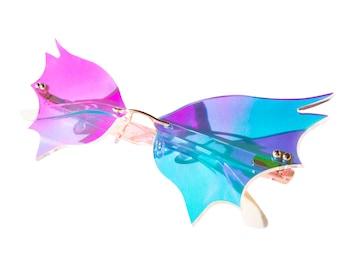 Iridescent Bat Wing Glasses
