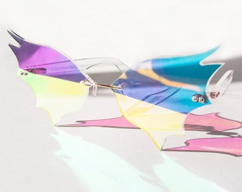 Iridescent Bat Wing Glasses