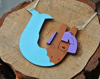 Wooden Mermaid Necklace