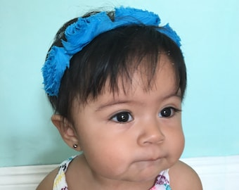 Blue Frida Flower Infant Headband