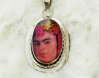 Frida Kahlo Natural Flower Pendant Necklace