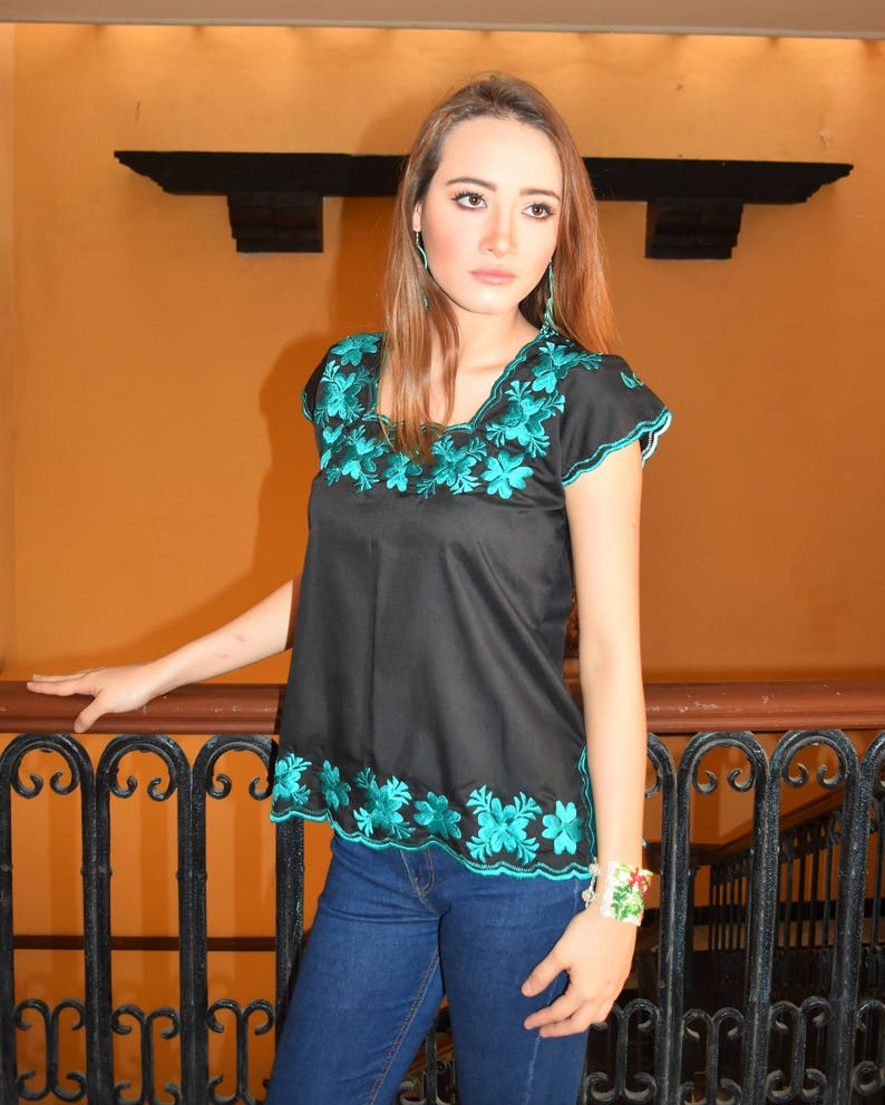 Huipil Black and Turquoise Embroidered Blouse S - 2XL
