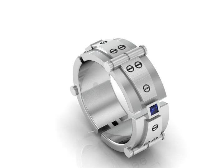 Bolted Gold - 14k White Gold Engagement or Wedding Band For Men with Blue Sapphire (Item#: RFM-00281)