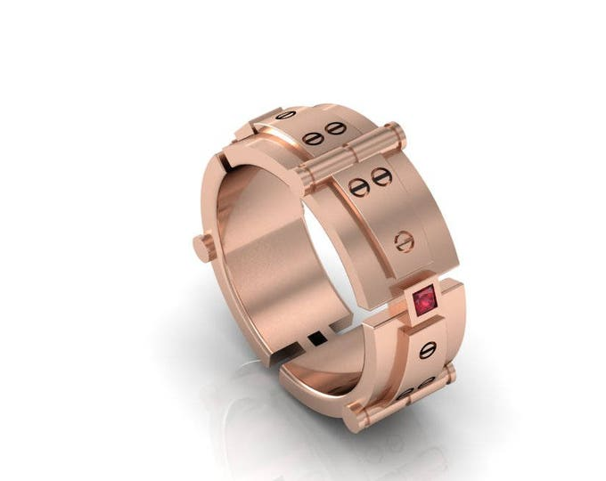 Bolted Gold - 14k Rose Gold Engagement or Wedding Band For Men with Ruby  (Item#: RFM-00282)