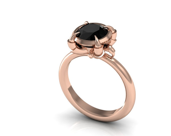 Eagles Catch-14k ROSE Gold Engagement or Wedding Ring wite Black Diamond item#:RFW-109