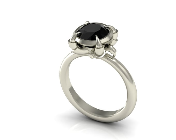 Eagles Catch-14k White Gold Engagement or Wedding Ring wite Black Diamond item#:RFW-110