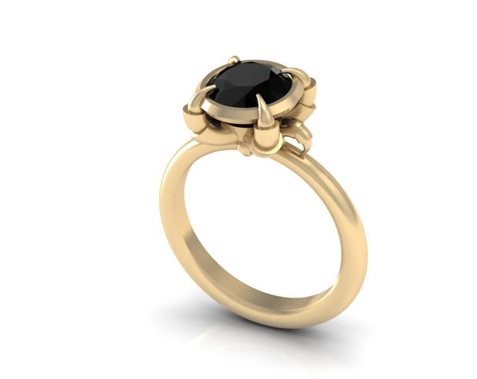 Eagles Catch-14k YELLOW Gold Engagement or Wedding Ring wite Black Diamond item#:RFW-00-111