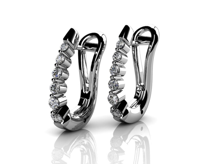 14k White Gold Classic Earrings with Diamond  Item # LAFW-000-X-164