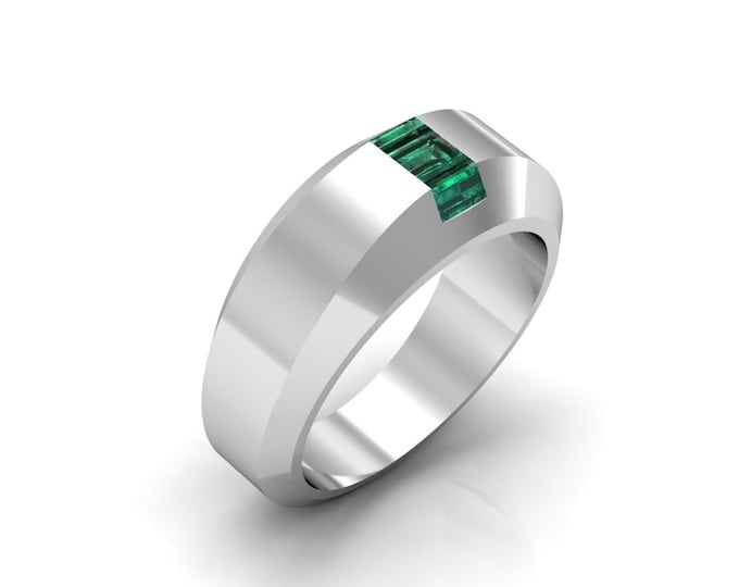 HILL ST. 18 k White Gold Classic Engagement or Wedding Ring with Emerald Item # LARFW -00656