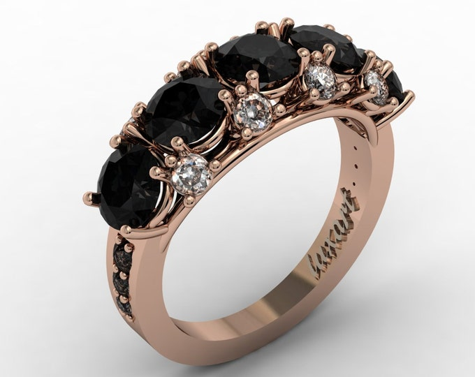 MELODY -14k Rose Gold Classic Engagement or Wedding Ring with Diamond and Black Diamond Item #: RFW -00365